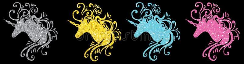 O vetor ajustado do unicórnio da silhueta da cabeça do unicórnio do brilho representa o einhorn bonito pegasus 2d do unicórnio do ilustração do vetor