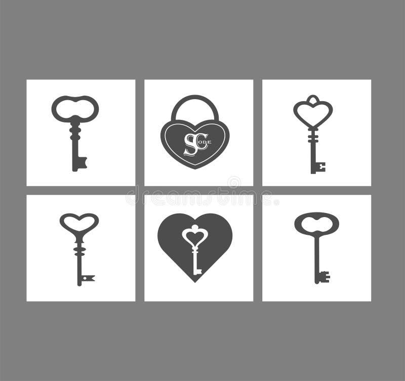 O vetor ajustou ícones lisos do projeto de chaves do vintage e de fechaduras da porta, buracos da fechadura ilustração do vetor
