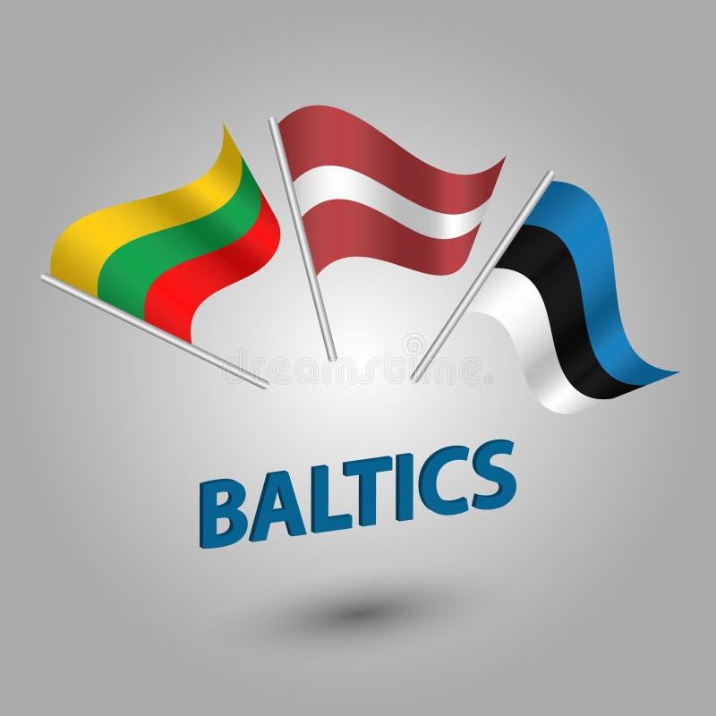O vetor ajustou bandeiras dos Estados Bálticos Estônia, latvia e lithvania no polo de prata - estoniano, ícones lativan, lithv ilustração do vetor