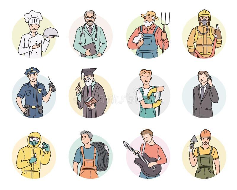 O vetor ajustou profissões diferentes dos homens redondos do ícone Ilustração dos povos do Dia do Trabalhador na linha estilo da  ilustração stock