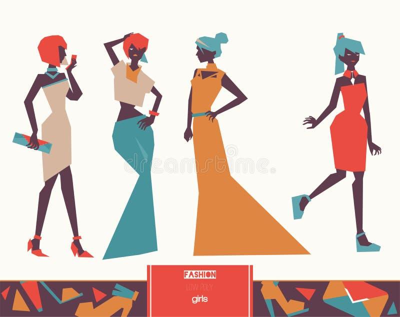 O vetor ajustou-se com as baixas meninas polis criativas da forma em vestidos de noite no estilo gráfico geométrico, isolado no f ilustração royalty free