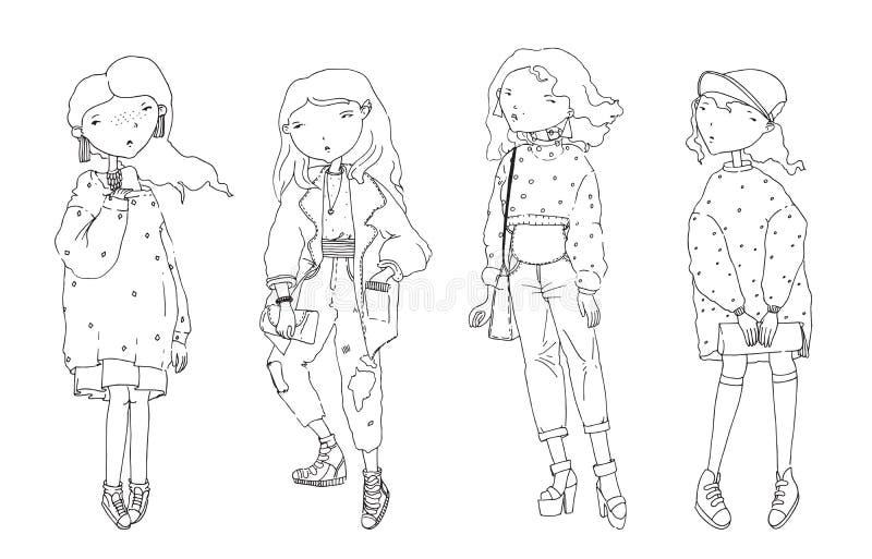O vetor ajustou-se com as meninas bonitos bonitas da forma em camisetas desproporcionados e em casaco de lã Entregue a ilustração ilustração do vetor