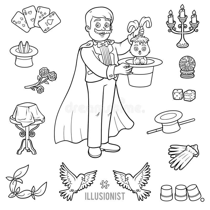 O vetor ajustou-se com mágico e objetos para truques mágicos ilustração stock