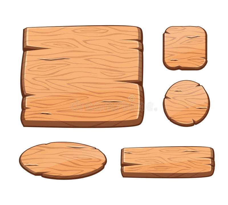 O vetor ajustou-se com os botões de madeira dos desenhos animados para ativos do jogo ilustração stock