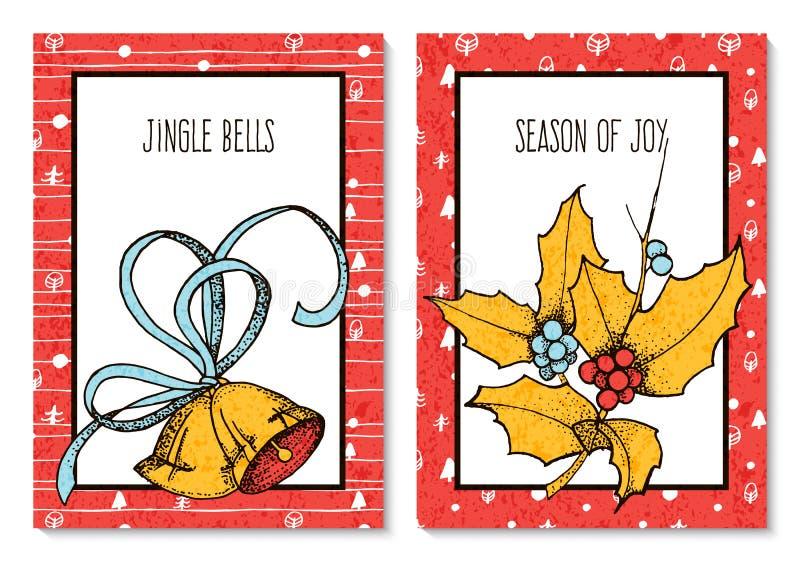 O vetor ajustou-se com os dois cartões de Natal de cumprimento com azevinho e os sinos tirados mão o projeto para cartões, tampas ilustração do vetor
