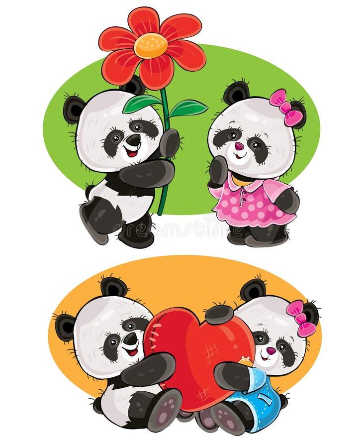 O vetor ajustou-se com um par ursos de panda no amor ilustração stock