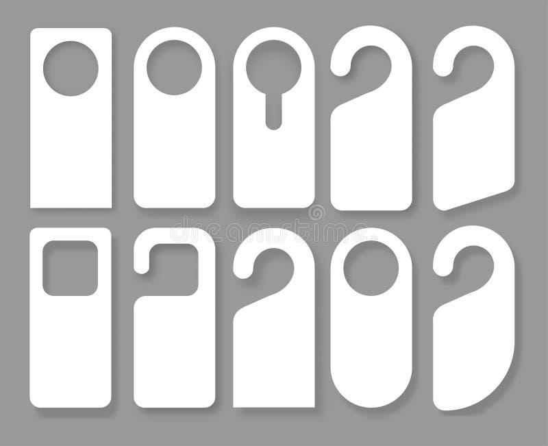 O vetor ajustou-se dos ganchos de porta originais com estilo de vidro na moda isolados no fundo branco Modelo do gancho de porta ilustração stock
