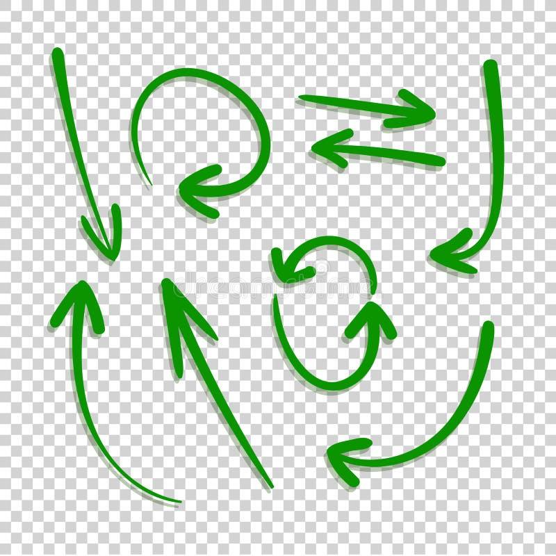 O vetor ajustou-se mão verde de setas tiradas com a sombra translúcida isolada no fundo claro de Trensparent, desenhos a mão livr ilustração royalty free