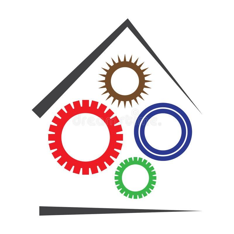 O vetor alinha o logotipo da fábrica da casa das rodas denteadas ilustração royalty free