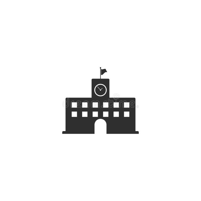 O vetor alto do ícone do prédio da escola isolou 3 ilustração stock