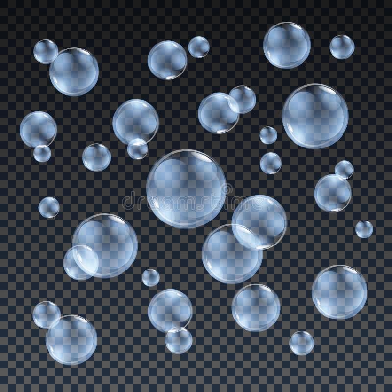 O vetor azul transparente das bolhas de sabão ajustou-se no fundo da manta Bola da esfera, água do projeto e espuma, ilustração d ilustração stock