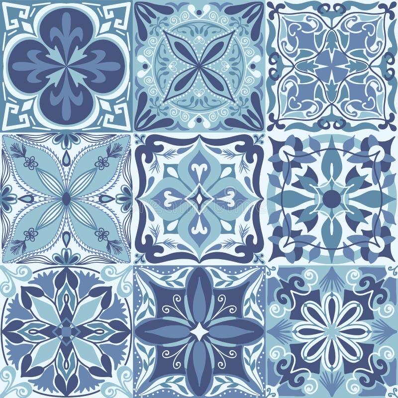 O vetor Azulejo português telha o fundo sem emenda do teste padrão ilustração do vetor