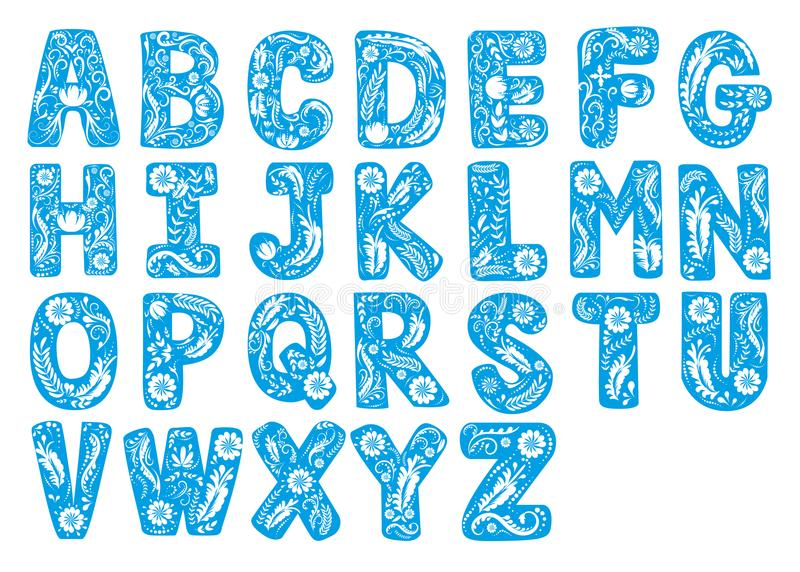 O vetor bonito do texto do elemento da fonte floral do projeto de letra da decoração da flor do alfabeto isolou a ilustração no b ilustração royalty free