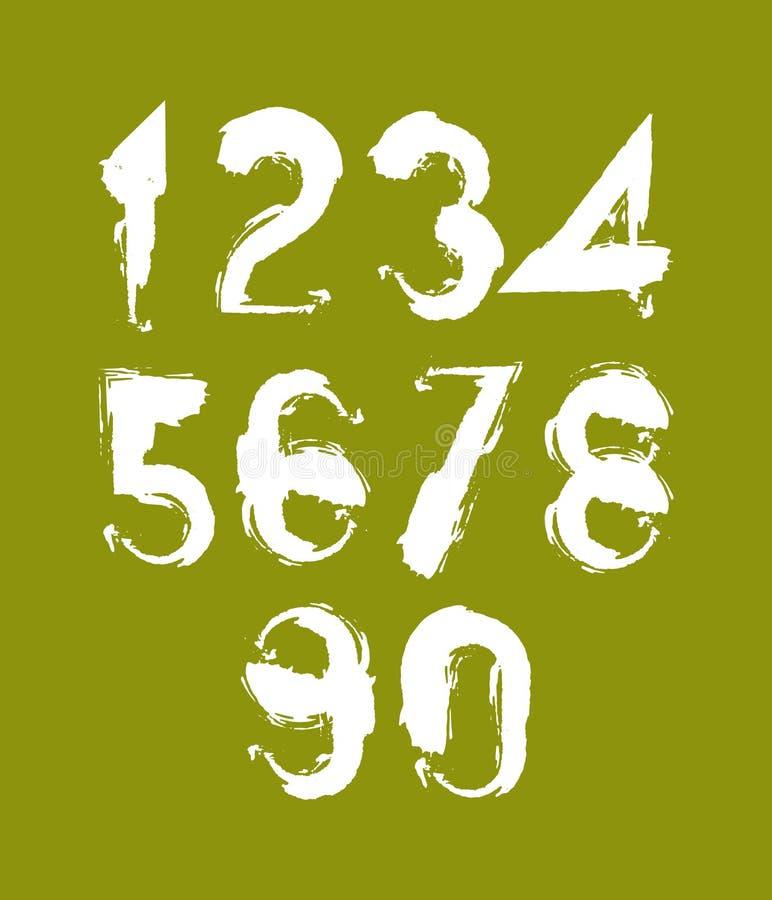 O vetor branco escrito à mão numera, os números à moda ajustados tirados com ilustração stock