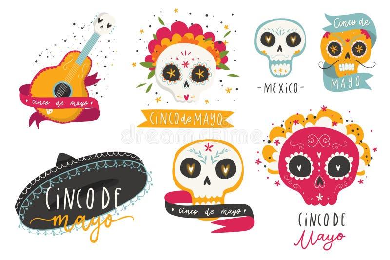 O vetor brilhante bonito ajustou-se com símbolos mexicanos tradicionais - adoce os crânios, flores do cravo-de-defunto, guitarra ilustração stock