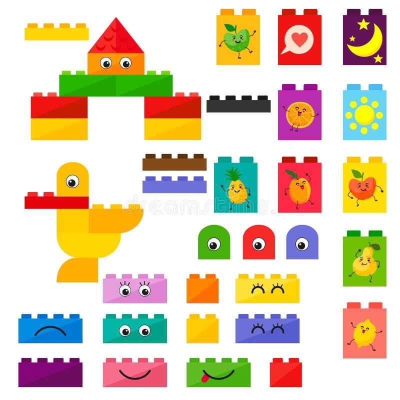O vetor caçoa brinquedos plásticos dos tijolos com fruto do kawai com sorrisos bonitos O vetor isola-se em um fundo branco ilustração royalty free