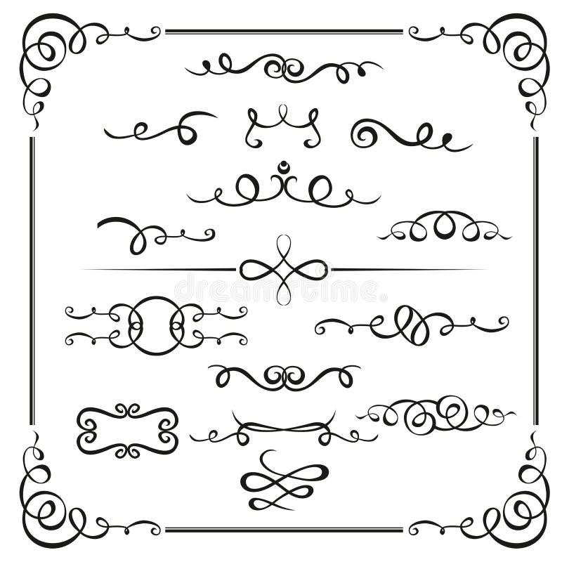 O vetor caligráfico dos elementos gráficos ajusta-se para desenhistas - testes padrões, projetos, monogramas e arabescos, setas P ilustração do vetor