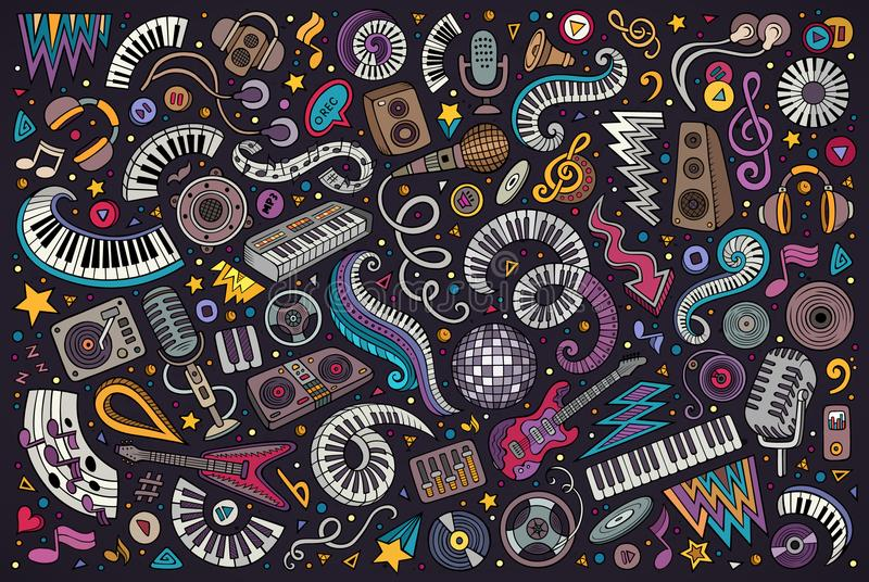 O vetor colorido rabisca o grupo dos desenhos animados de objetos da música do disco ilustração stock