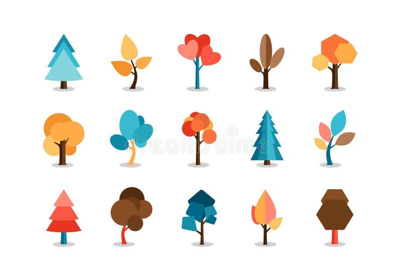 O vetor coloriu ícones da árvore ajustados ilustração royalty free