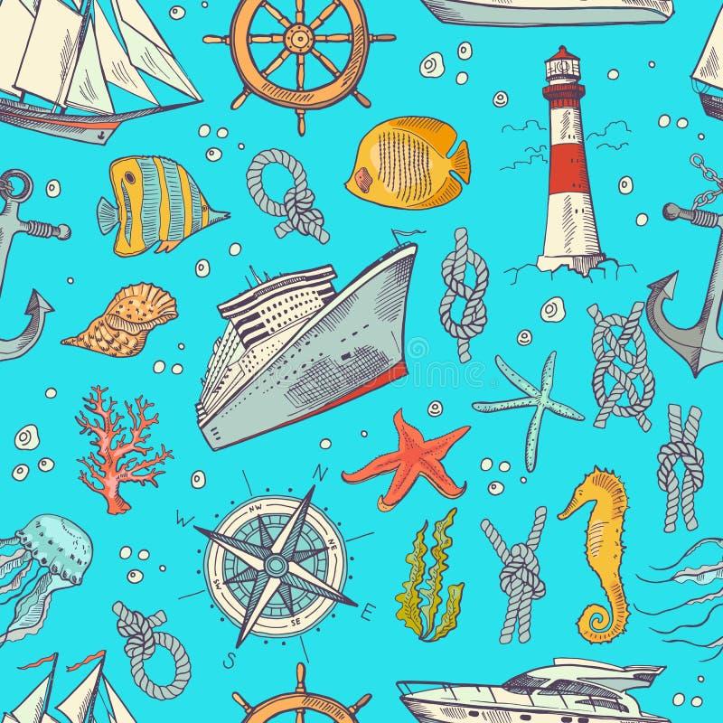 O vetor coloriu elementos esboçados teste padrão ou fundo do mar ilustração royalty free