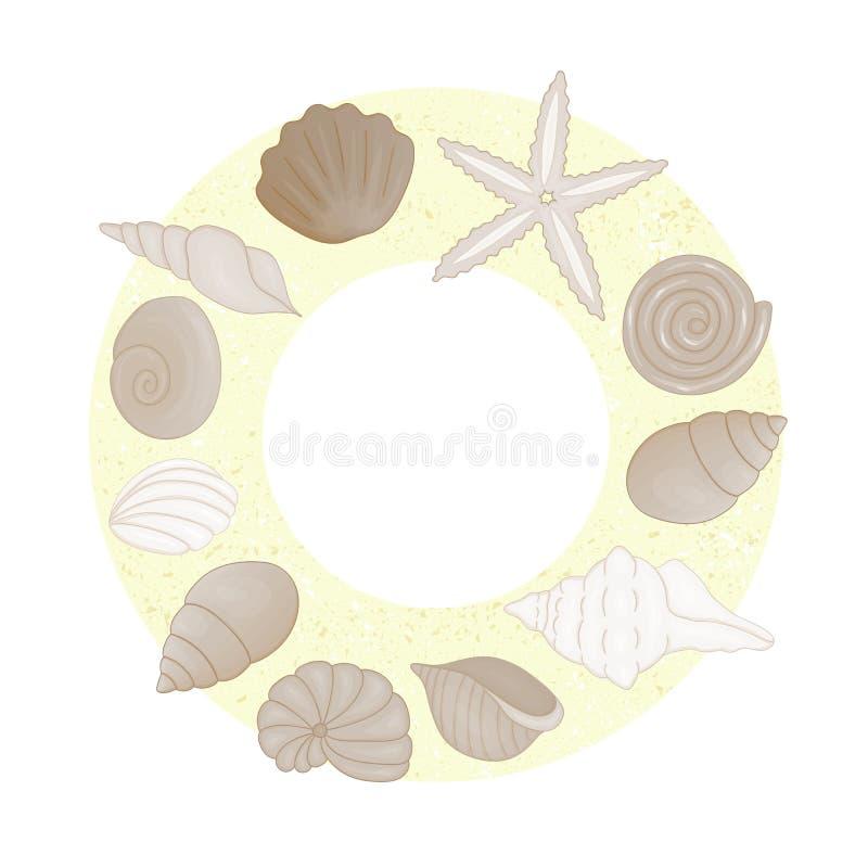 O vetor coloriu o grupo de escudos moldados no círculo na areia amarela como o fundo ilustração royalty free