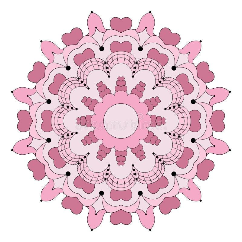 O vetor coloriu a mandala circular da flor com da página adulta do livro para colorir dos corações cor cor-de-rosa velha ilustração do vetor