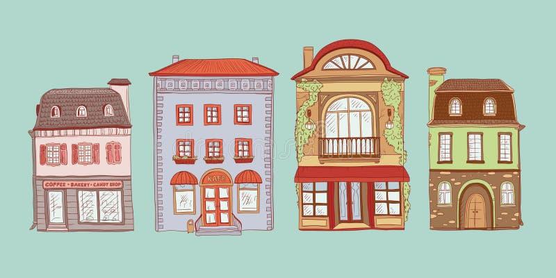O vetor coloriu o grupo de ilustração do esboço do contorno de casas do europeu do vintage Lojas do jogo e cafés da cidade velha ilustração do vetor