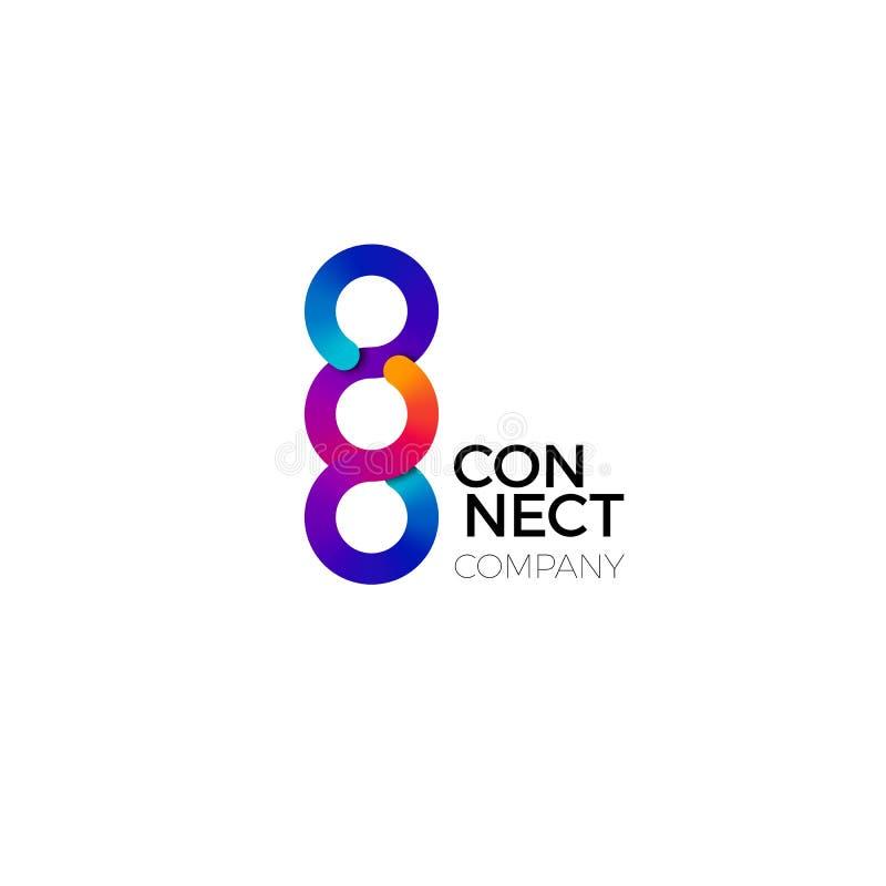 O vetor conecta o símbolo O conceito colorido de conecta, interação e cooperação Logotipo criativo do negócio ilustração royalty free