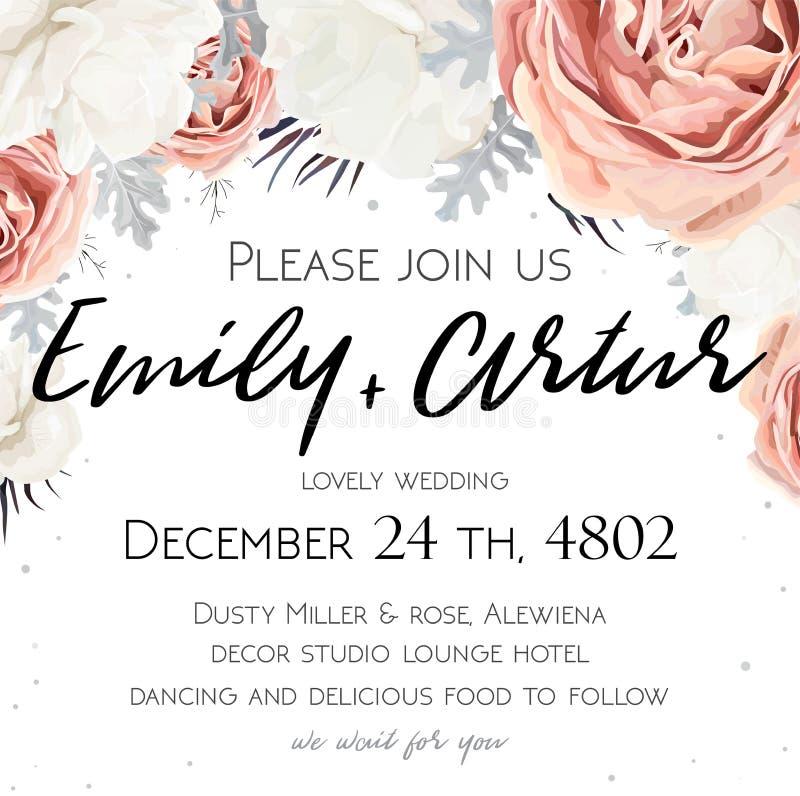 O vetor, convite floral do casamento, convida, salvar o cartão de data de ilustração stock