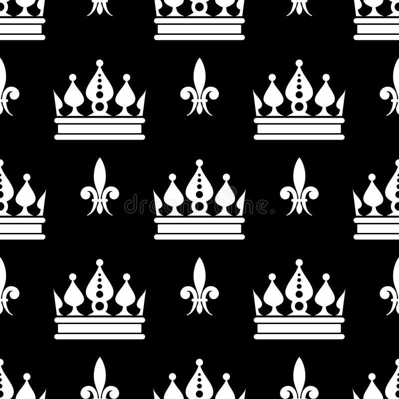O vetor coroa o teste padrão sem emenda da flor de lis em preto e branco ilustração do vetor