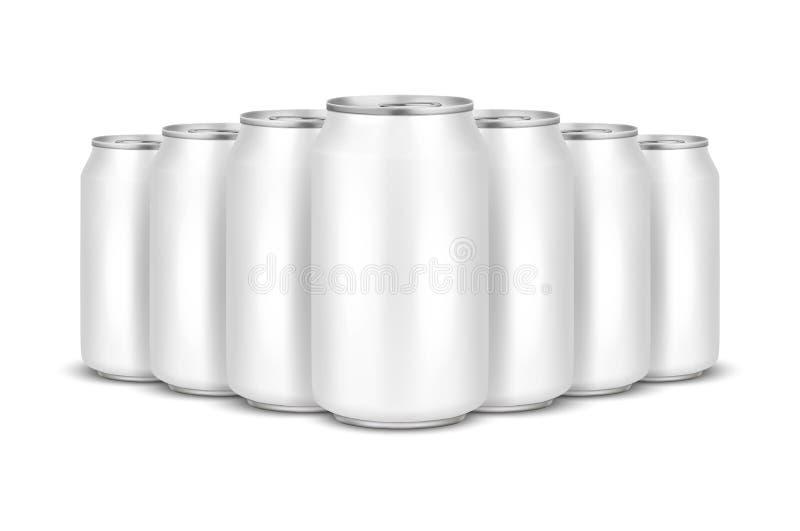 O vetor 3d realístico esvazia o bloco de alumínio branco da cerveja do metal lustroso ou pode a pilha 330ml visual Pode ser usado ilustração royalty free