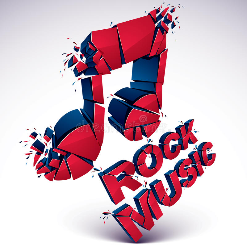 O vetor 3d vermelho quebrou a nota musical com salpicaduras e refrações ilustração royalty free