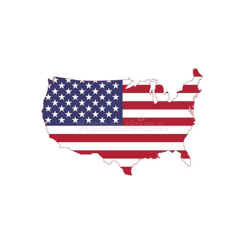 O vetor da bandeira americana no mapa americano, EUA traça com bandeira imagem de stock royalty free