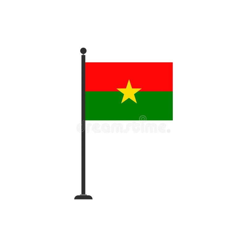 O vetor da bandeira de Burkina Faso isolou 3 ilustração royalty free