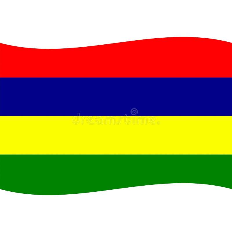 O vetor da bandeira de Maurícias isolou 2 ilustração royalty free