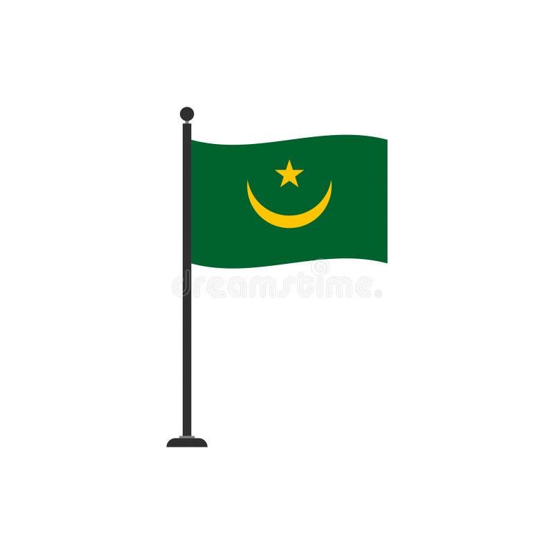O vetor da bandeira de Mauritânia isolou 4 ilustração do vetor
