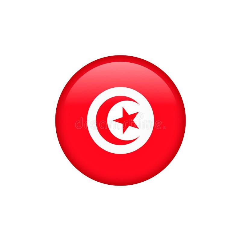 O vetor da bandeira de Tunísia isolou 5 ilustração stock
