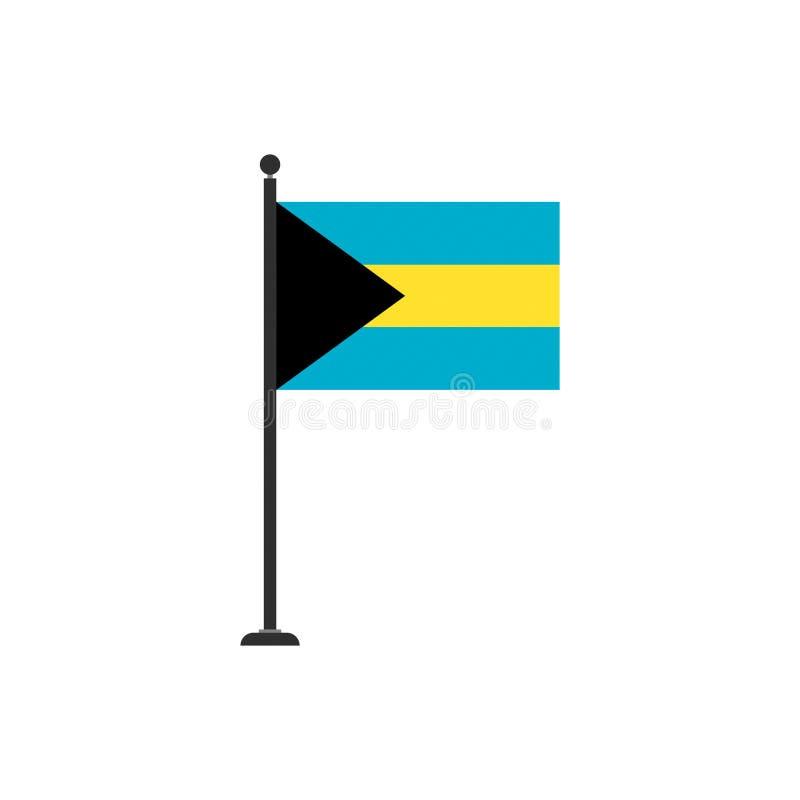 O vetor da bandeira do Bahamas isolou 3 ilustração stock