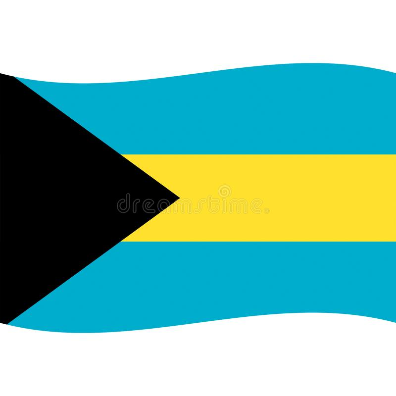 O vetor da bandeira do Bahamas isolou 2 ilustração royalty free