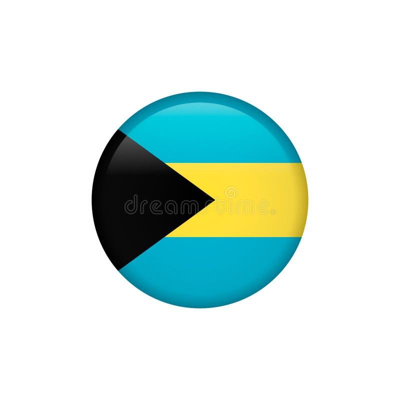 O vetor da bandeira do Bahamas isolou 5 ilustração royalty free