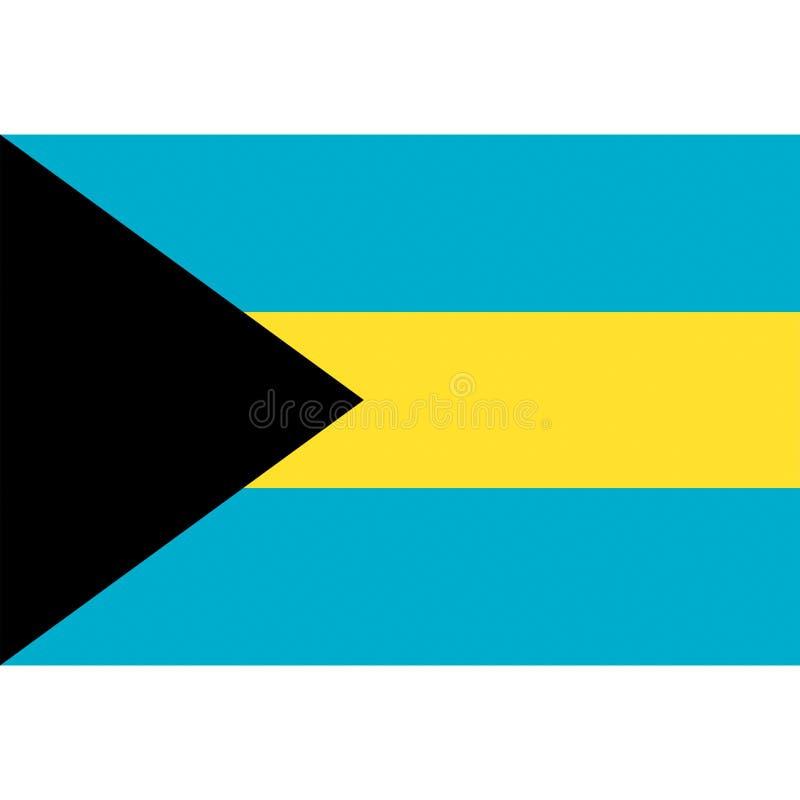 O vetor da bandeira do Bahamas isolou-se ilustração royalty free