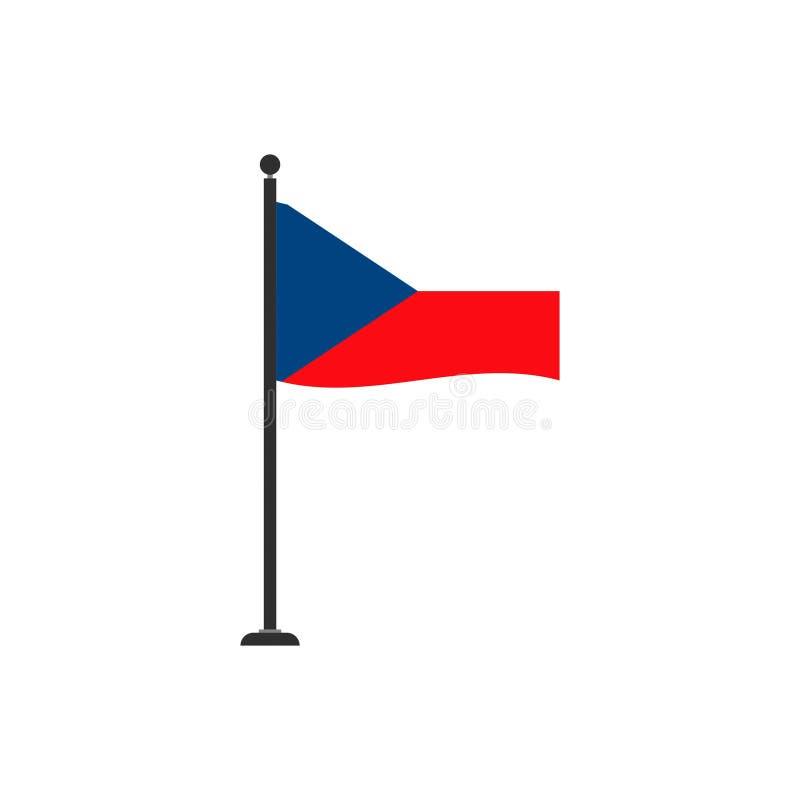 O vetor da bandeira da república checa isolou 4 ilustração stock