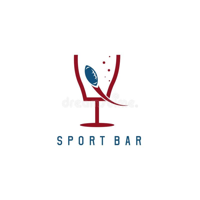 O vetor da barra de esporte da bola e da porta do futebol americano projeta ilustração stock