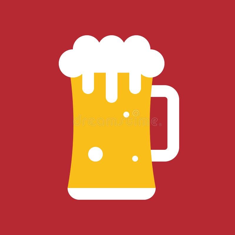O vetor da caneca de cerveja, Chirstmas relacionou o ícone liso do estilo ilustração royalty free