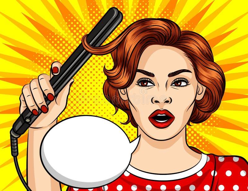 O vetor da cor na menina cômica do estilo do pop art faz o penteado Mulher bonita que guarda encrespadores de cabelo ilustração stock