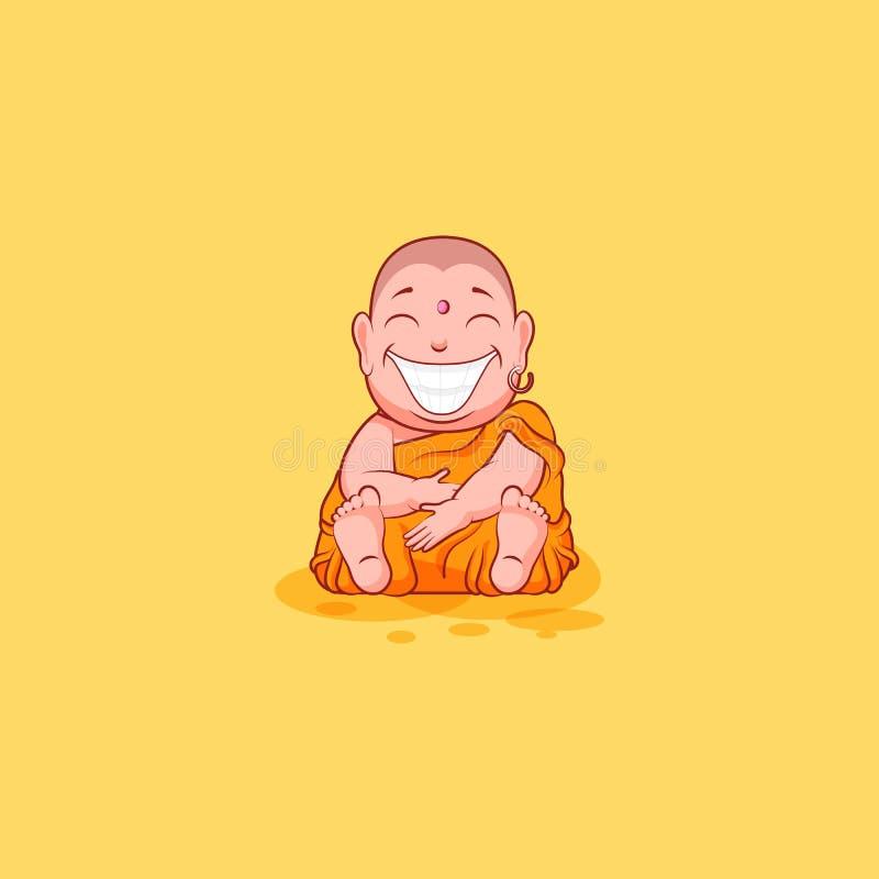 O vetor da emoção do emoticon do emoji da etiqueta isolou dos desenhos animados infelizes do caráter da ilustração a Buda enorme  ilustração stock