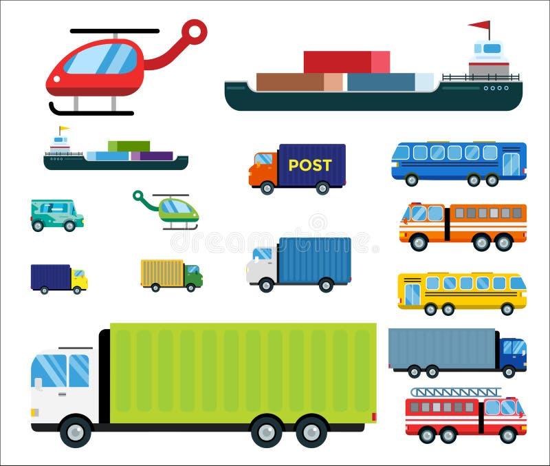 O vetor da entrega do transporte isolou o petroleiro branco do ícone da silhueta do navio do helicóptero do carro de bombeiros da ilustração royalty free