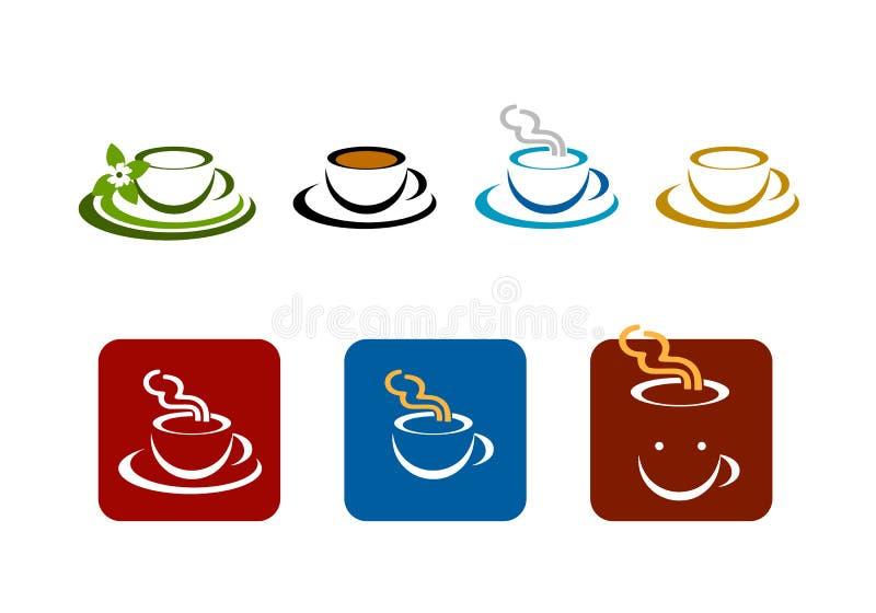 O vetor da loja da barra de café marca o logotipo ilustração stock