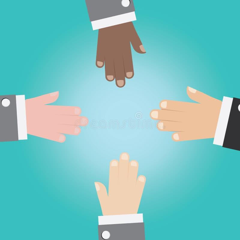 O vetor da mão do homem de negócios une-se ilustração do vetor