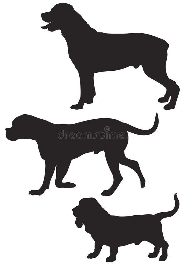 O vetor da raça do cão mostra em silhueta 4 ilustração stock